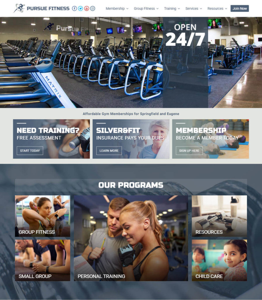 Pursue Fitness Club Website